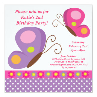 Butterfly- Pink and Purple Invitation