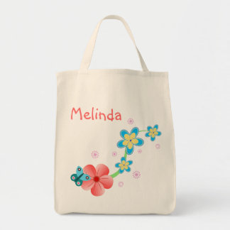 Butterfly Pink Blue Floral Grocery Tote Bag