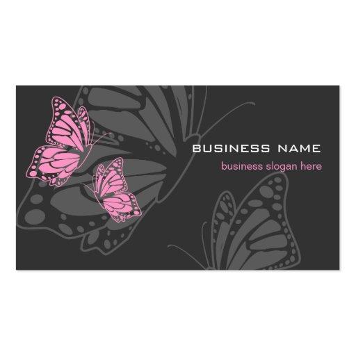 Butterfly Pink & Dark Elegant Modern Business Card