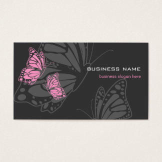 Butterfly Pink & Dark Elegant Modern Business Card