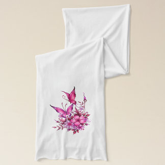 Butterfly Pink Floral Flowers on White 3 Scarf