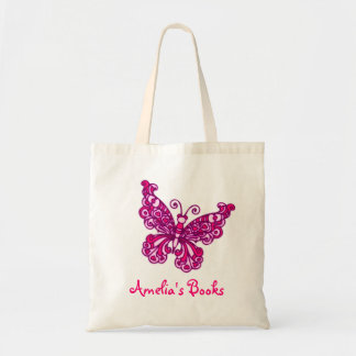 Butterfly pink kids named id library tote bag
