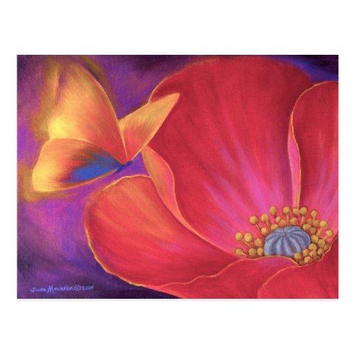 Butterfly Pink Poppy Art - Multi Postcard