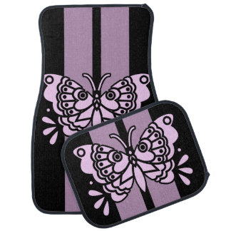 Butterfly Pink Race Stripes Car Mat