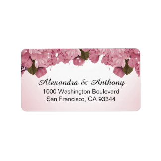 Butterfly Pink Roses Wedding Return Address Label