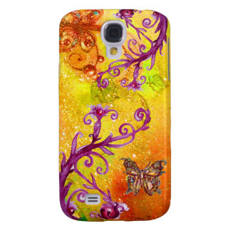BUTTERFLY PLANT / MAGIC SWIRLS IN SPARKLE Yellow Galaxy S4 Case