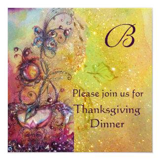 BUTTERFLY PLANT MONOGRAM Thanksgiving Dinner 13 Cm X 13 Cm Square Invitation Card