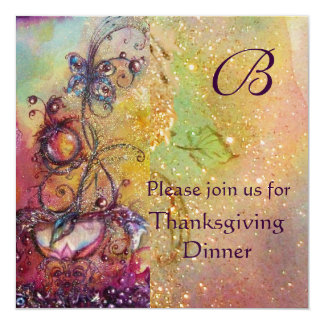 BUTTERFLY PLANT MONOGRAM Thanksgiving Dinner Gold 13 Cm X 13 Cm Square Invitation Card