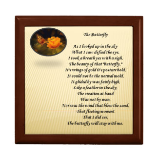 Butterfly poem and picture on gift box lid.
