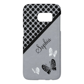 Butterfly Polka Dot Black White
