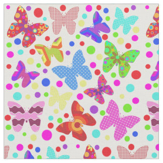 Butterfly polka dot colorful cute animal nursery fabric