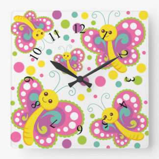 Butterfly polka dot cute animal nursery kids room square wall clock