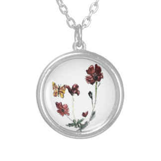 Butterfly Poppy Floral Art Silver Plated Necklace