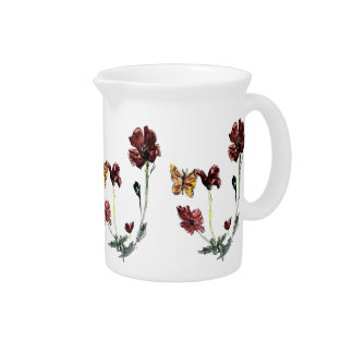 Butterfly Poppy Flowers Art Pitcher