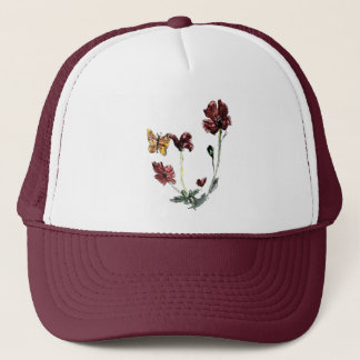 Butterfly Poppy Flowers Art Trucker Hat