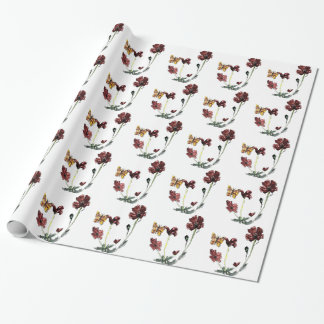Butterfly Poppy Flowers Floral Art Wrapping Paper
