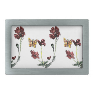 Butterfly Poppy Flowers Illustration Belt Buckle
