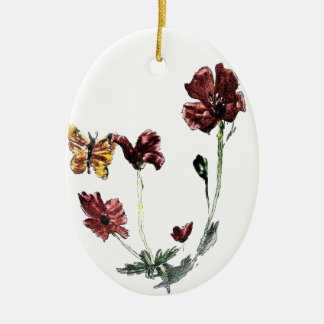 Butterfly Poppy Flowers Illustration Christmas Ornament