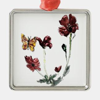 Butterfly Poppy Flowers Illustration Christmas Ornament