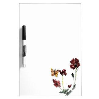 Butterfly Poppy Flowers Illustration Dry-Erase Whiteboards