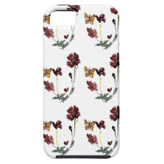 Butterfly Poppy Flowers Illustration iPhone 5 Cases
