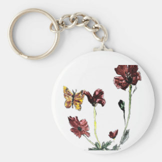 Butterfly Poppy Flowers Illustration Key Ring