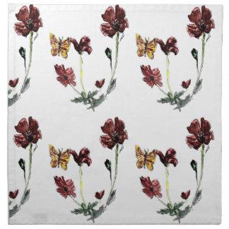 Butterfly Poppy Flowers Illustration Napkin