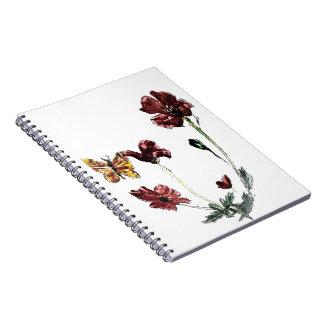Butterfly Poppy Flowers Illustration Notebook
