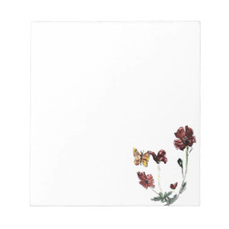 Butterfly Poppy Flowers Illustration Notepad