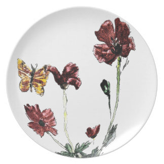 Butterfly Poppy Flowers Illustration Party Plate