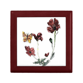 Butterfly Poppy Flowers Illustration Small Square Gift Box