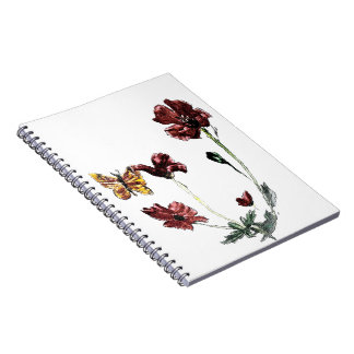 Butterfly Poppy Flowers Illustration Spiral Notebook
