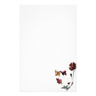 Butterfly Poppy Flowers Illustration Stationery