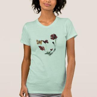 Butterfly Poppy Flowers Illustration T-Shirt