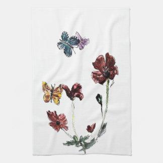Butterfly Poppy Flowers Illustration Tea Towel