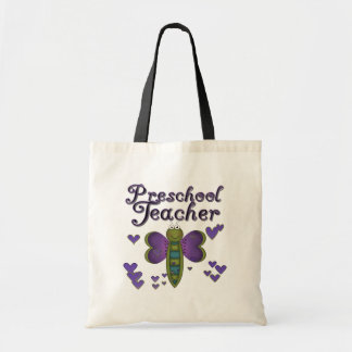 Butterfly Preschool Teacher Tshirts and Gifts Budget Tote Bag