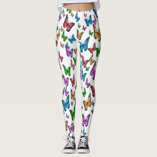 Butterfly Print Leggings, Colorful Butterflies Leggings