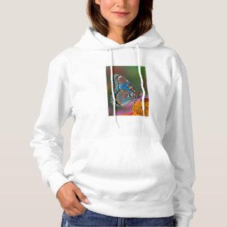 Butterfly profile on a flower hoodie