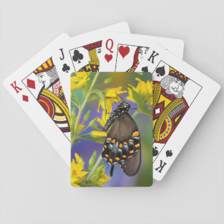 Butterfly profile on yellow flower playing cards