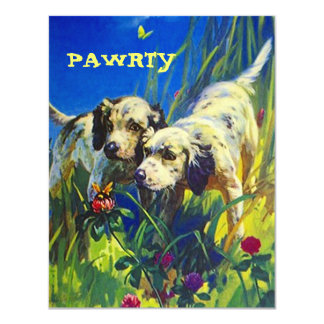 "BUTTERFLY PUPS DOG PAWRTY PARTY INVITE INVITATION 4.25"" X 5.5"" INVITATION CARD"