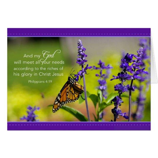 Butterfly, Purple flowers Card