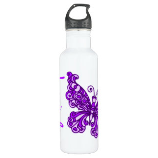 Butterfly purple kids named drinks bottle