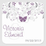 Butterfly Purple Whimsy Wedding Stickers
