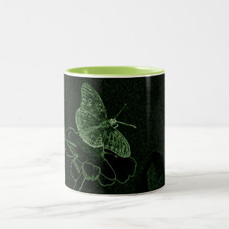 Butterfly put in green neon flower Two-Tone coffee mug