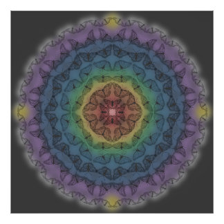 Butterfly Rainbow Mandala Poster