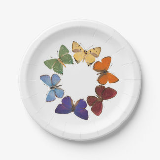 Butterfly rainbow plate 7 inch paper plate
