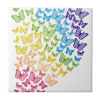 Butterfly Rainbow Small Square Tile