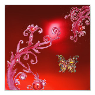 BUTTERFLY  RED RUBY bright pink, Card