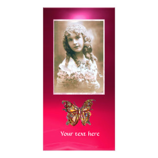 BUTTERFLY RED RUBY pink Personalized Photo Card