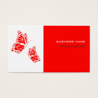 Butterfly Red & White Elegant Modern Simple Business Card